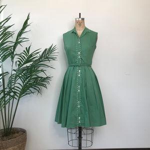 1950's Joan Miller Sleeveless Button Down Dress